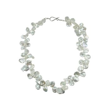 White Keshi Pearl Necklace Sterling Silver Clasp