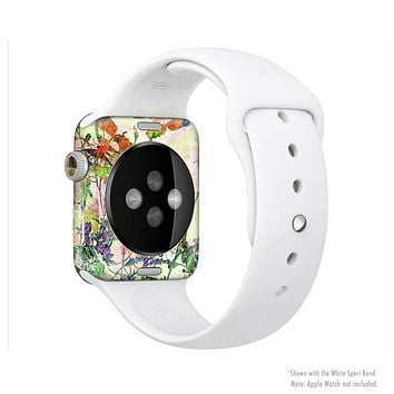 The Green Bright Watercolor Floral Full-Body Skin Set for the Apple Watch