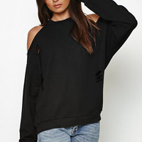 Honey Punch Ripped Cold Shoulder Crew Neck Sweatshirt at PacSun.com