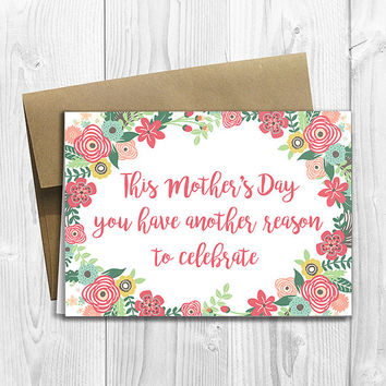 PRINTED This Mother's Day you have another reason to celebrate -  Pregnancy Announcement 5x7 Greeting Card  -  Expecting Notecard