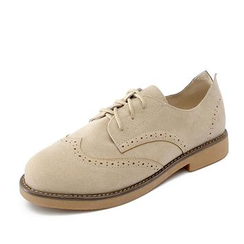 Moxxy 2018 Spring Women Sneakers Oxford Shoes Flats Shoes Women Leather Suede Lace Up Boat Shoes Round Toe Flats Moccasins
