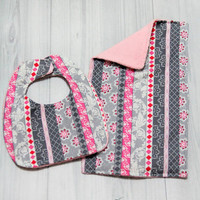 Baby Girls Pink and Gray Bib and Burp Cloth Set. Great Baby Shower Gift