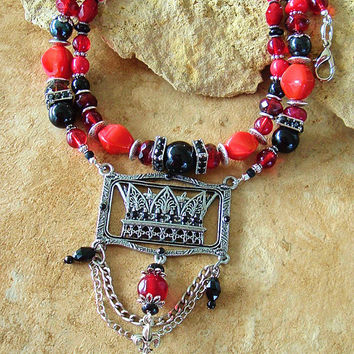 Vintage Victorian Necklace, Drama Queen/Crown Statement Necklace, Red Coral and Black Onyx Assemblage Necklace, Red Queen Jewelry