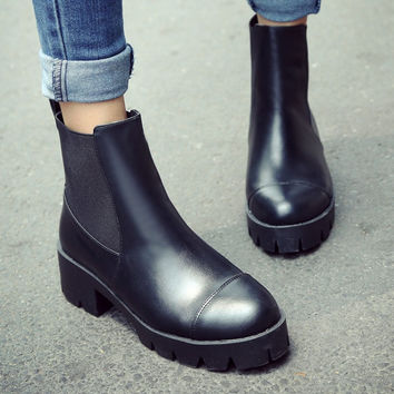 Black Ankle Boots High Heels Shoes Woman