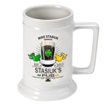 16oz. Ceramic Beer Stein - Irish Pub