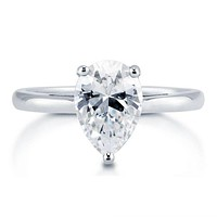 A Perfect 2CT Pear Cut Solitaire Russian Lab Diamond Promise Engagement Anniversary Wedding Ring