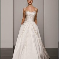 Empire off-the-shoulder strap sweetheart court train Ivory satin wedding dresses 2012 BAML0017