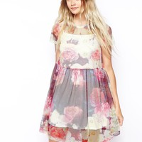 ASOS Dress With Floral Net