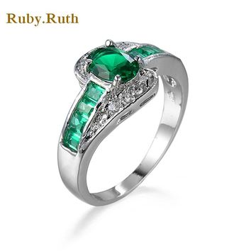 green Zircon Rings For Women Birthday Gift Vintage silver- Gold Filled March Birthstone retro style steel ring