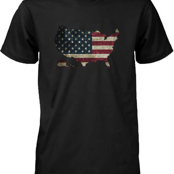 Funny Graphic Statement Mens Black T-shirt - US Flag in US Map