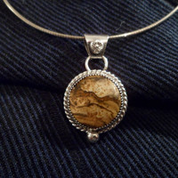 Authentic Navajo,Native American,Southwestern sterling silver Picture Jasper pendant necklace.