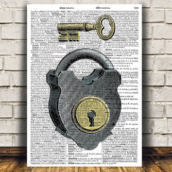 Lock print Skeleton key decor Vintage poster Antique print RTA1106
