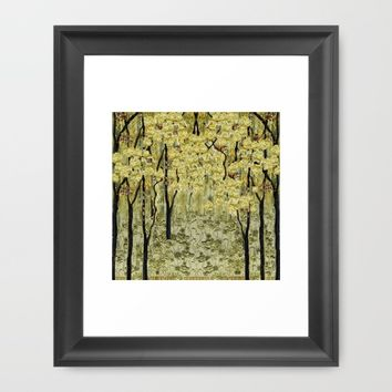 Magic forest in yellow Framed Art Print by Bozena Wojtaszek