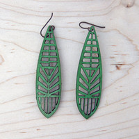 Dragonfly Lasercut Leather Earrings - Green