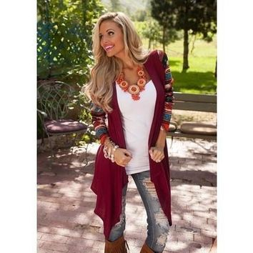 2016 Autumn Winter Long Sleeve Special Totem Spell Color Irregular Cardigan Knit Blouse Loose Coat [8833532108]