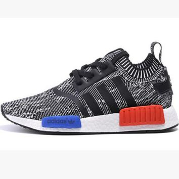 "Women ""Adidas"" NMD Boost Casual Sports Shoes Grey red blue soles"