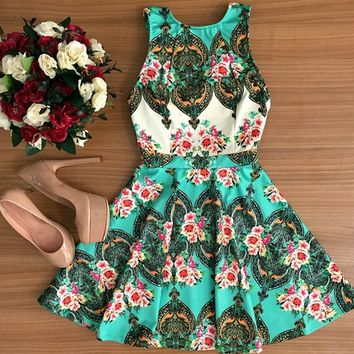 Causal Floral Print Mini Dress