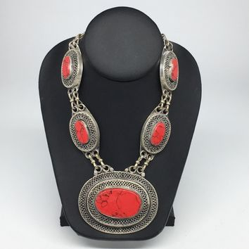 Turkmen Necklace Afghan Ethnic Tribal 5 Cab Red Coral Inlay Kuchi Necklace TN246
