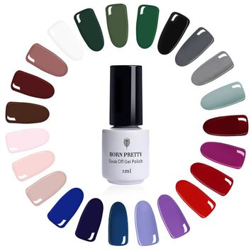 Born Pretty 5ml Nude Gray Series Nail Art UV Gel Polish Red Purple Bluesky Matte Base Top Coat Nail Art Set Need LED UV Lamp