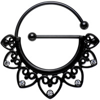 Clear Gem Black PVD Barbell Filigree Heart Universal Nipple Ring   Body Candy Body Jewelry