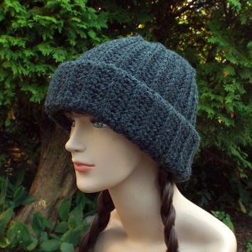 Charcoal Gray Slouchy Hat - Ribbed Cap - Womens Slouch Beanie - Oversized Chunky Hat - Crochet Long Slouchy Beanie