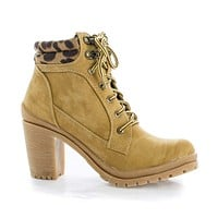 Hanson1 By Liliana, Lace Up Leopard Ankle Cuff Lug Sole Boots
