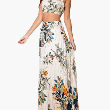 Floral Halter Top & Matching Maxi Skirt Set For One Low Price
