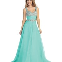 2014 Prom Dresses - Mint Chiffon & Beaded Empire Gown