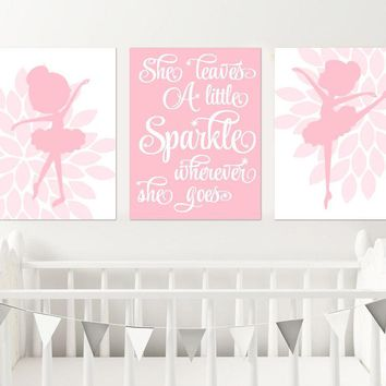 BALLERINA Wall Art, CANVAS or Prints, Ballerina Nursery Wall Decor, She Leaves A Little Sparkle, Baby Girl Pink Nursery Decor, Set of 3 Art