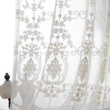 Embroidered sheer curtains European Palace Designs  Beige Window tulle Home decor Flower pattern Luxury Voile curtains