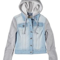 YMI Juniors Knit Sleeve Hooded Jean Jacket | Bealls Florida