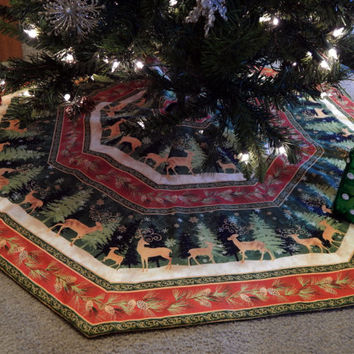 Large Octagon Striped Christmas Tree Skirt Featuring Deer and Trees