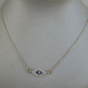 Sterling Silver Evil Eye Necklace, Celebrity Style. As seen on Rihanna and Kim Kardashian