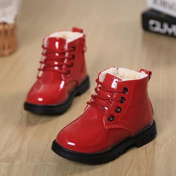 Girls' Winter Boots PU Leather Waterproof Snow Rubber