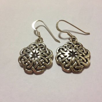 CELTIC STERLING Earrings Silver Irish Knot 925 Stamped Dangling Wire Pierced Vintage Ireland Jewelry Scottish Scotland Trinity Jewellry Gift