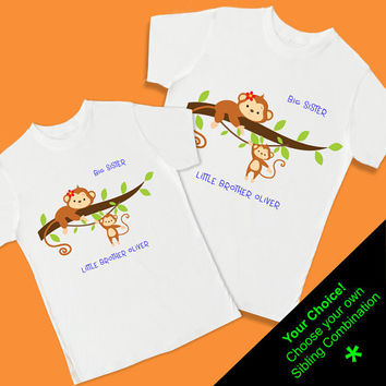 Little Monkeys Sibling Set - Big Sister & Little Brother - 2 Personalized T Shirts (1005S)