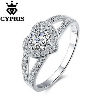 SALE wedding jewelry stamped silver rings for women silver ring heart white zircon wedding rings party jewelry R388 hot