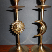 Solid Brass Moon and Sun Candle Holders Set