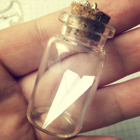 Vintage Retro Tiny Origami Paper Plane In The Bottle Long Necklace - Free Shipping - Made to order :)