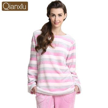 ONETOW Qianxiu Brand Pajamas Coral Fleece Women Pajama Set Couples Homewear