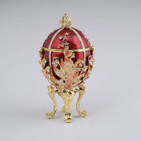 Red Majestic Faberge Egg Handmade Trinket Box by Keren Kopal Decorated with White Swarovski Crystals