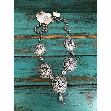 1N317SCL Antique silver and clear crystal concho necklace