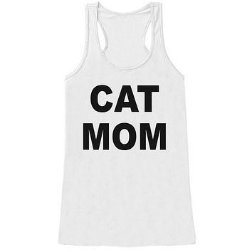 Gift For Mom - Cat Mom - Funny Shirts for Women - Novelty Tank - Gift for Her - Mothers Day Gift Idea - Funny Animal Lover Gift - White