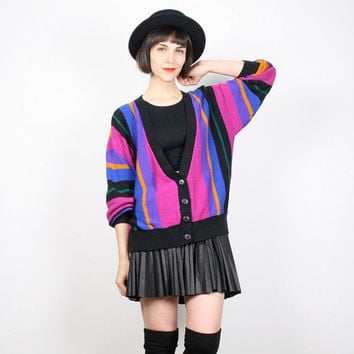 Vintage Rainbow Striped Cardigan 1980s Sweater 80s Sweater Cardigan Jumper V neck Pink Purple Black Gold Preppy New Wave M Medium L Large