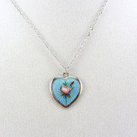 Vintage Guilloche Enamel Sterling Silver Heart Pendant Necklace Art Deco Era Enamel Flower Charm AEF Co Silver Jewelry