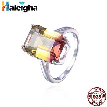 Gems 10*14mm Yellow Purple Created Ametrine Ring 3.87g 925 Sterling Silver Fine Jewelry for Women Haleigha Elegant Anillos Mujer