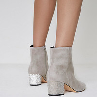 Grey pointed toe glitter block heel boots - Boots - Shoes & Boots - women