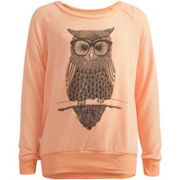 Full Tilt Owl Girls Hachi Knit Tunic Sweater Peach  In Sizes