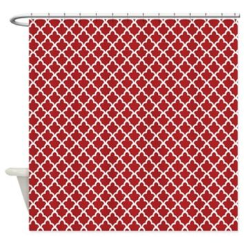 Contemporary Red and White Trefoil Shower Curtain> Red and White Trefoil> Buy Gifts