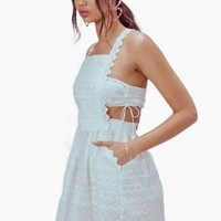Charlotte Eyelet Overalls Mini Dress - White Heart
